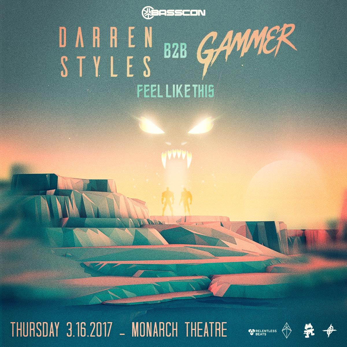Flyer for Darren Styles b2b Gammer - Feel Like This