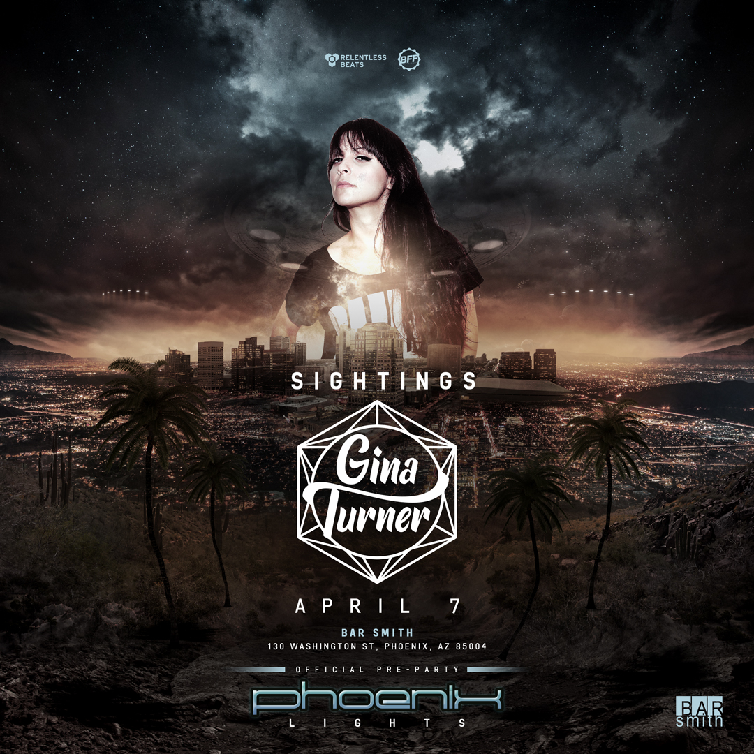 Flyer for Gina Turner - Sightings: On the Road to Phoenix Lights Official Pre-Party