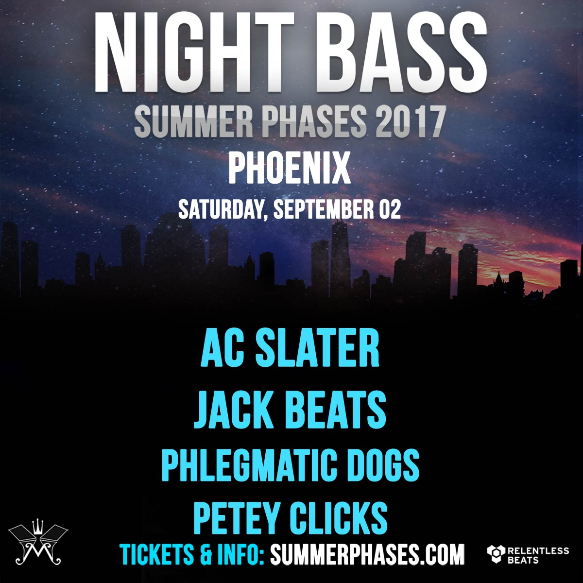 Flyer for Night Bass Summer Phases w/ AC Slater, Jack Beats, & More