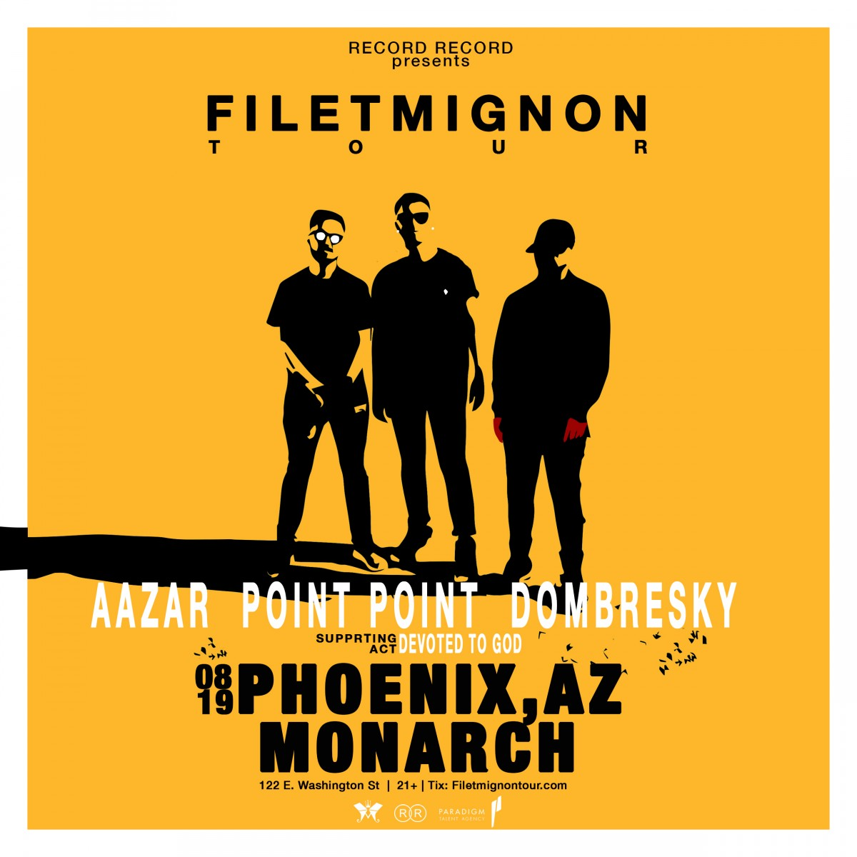 Flyer for Filet Mignon Tour - Aazar, Point Point, & Dombresky