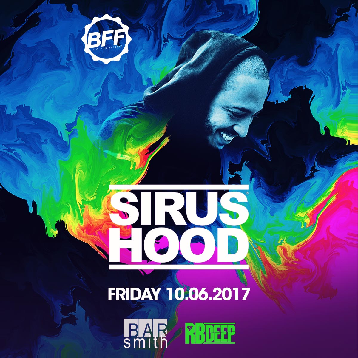 Flyer for Sirus Hood at BFF