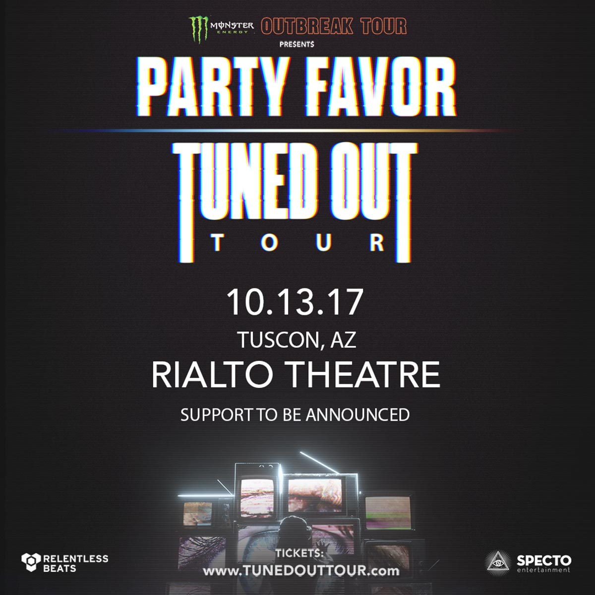 Flyer for Monster Outbreak Tour Presents: Party Favor