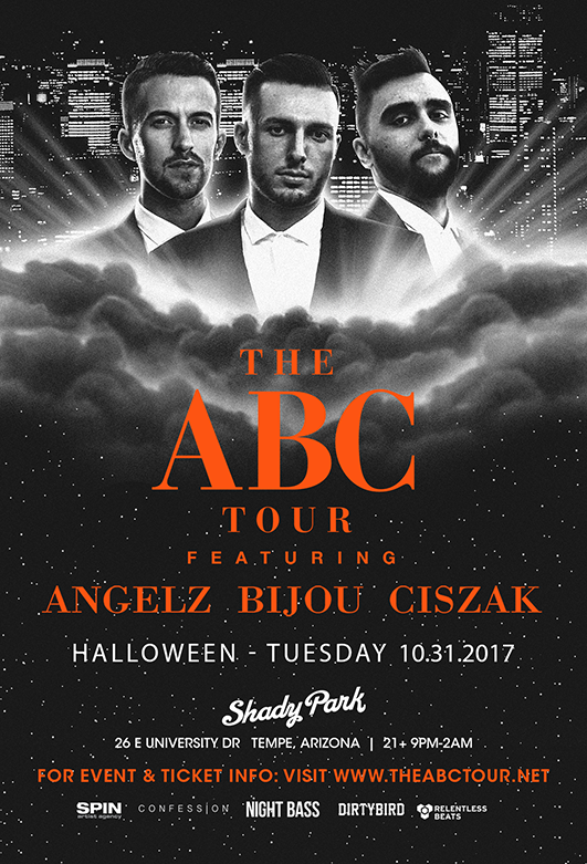 Flyer for ABC Tour: Angelz, Bijou, & Ciszak - Tempe