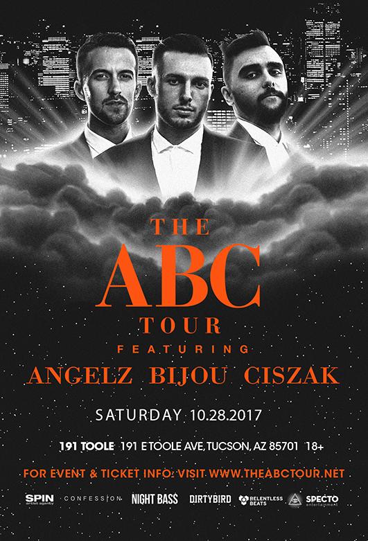Flyer for ABC Tour: Angelz, Bijou, & Ciszak - Tucson