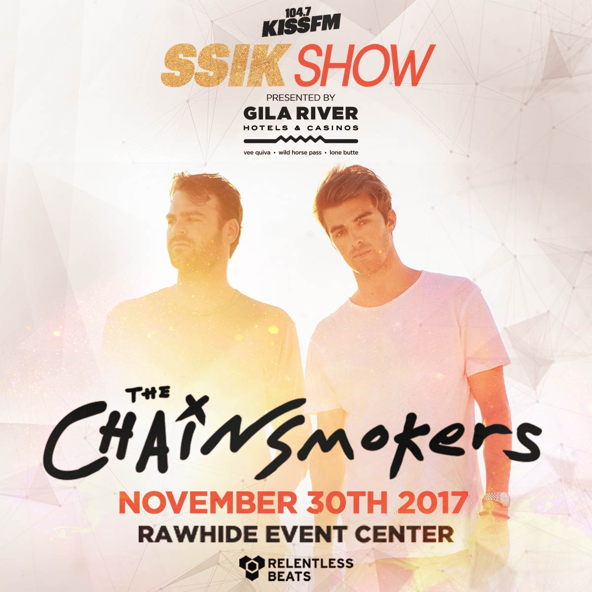 Flyer for KISS FM SSIK Show ft. The Chainsmokers