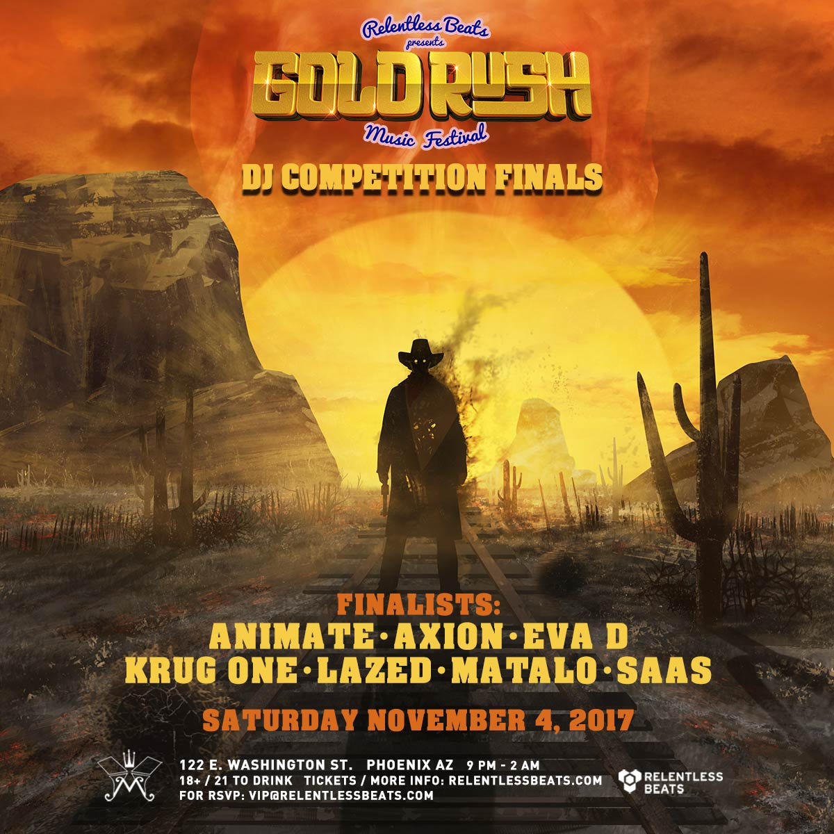 Flyer for Goldrush Music Festival DJ Competiton Finals